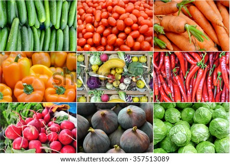 Collage of healthy organic vegetables - peppers, tomatoes, cucumbers and carrots
