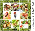 Collage of healthy salads.  Includes caprese, Greek, Waldorf, shrimp, smoked salmon, Nicoise, chicken, and garden salads. - stock photo
