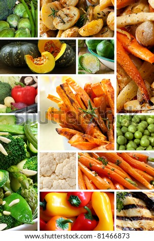 Collage of healthy vegetables images.  Yum!