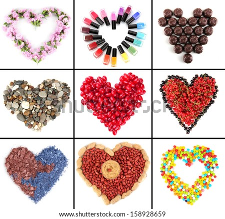 Collage of heart-shaped things - stock photo