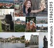 Collage of historic buildings and landmarks in Prague - stock photo