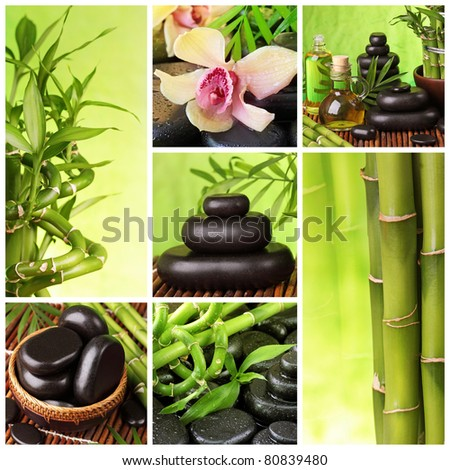 Collage of hot stones and bamboo - stock photo