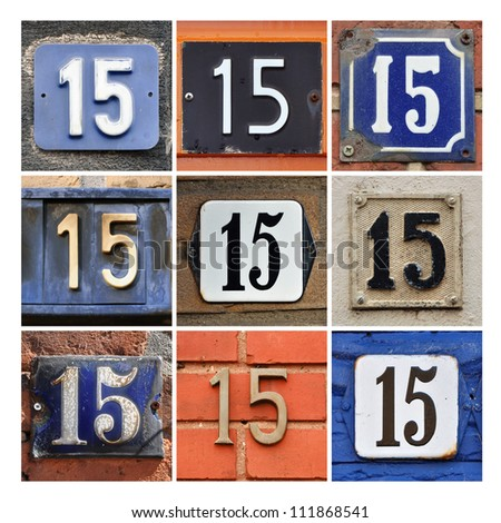 Collage of House Numbers Fifteen - stock photo