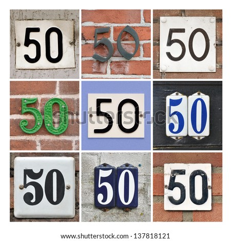 Collage of House Numbers Fifty - stock photo