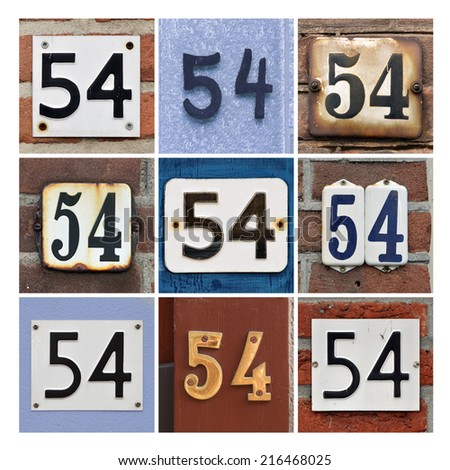 Collage of House Numbers Fifty-four - stock photo