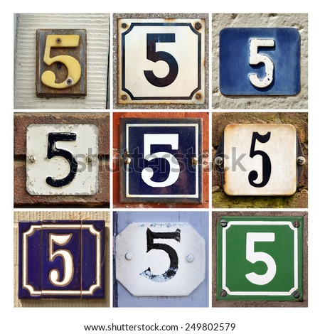 Collage of House Numbers Five - stock photo
