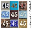 Collage of House Numbers Forty-five - stock photo