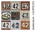 Collage of House Numbers Forty-two - stock