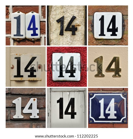 Collage of House Numbers Fourteen - stock photo