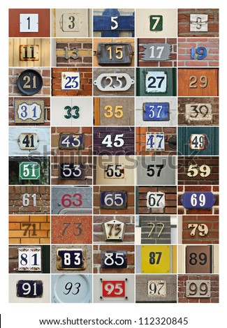 Collage of House numbers - odd numbers 1 to 99 - stock photo