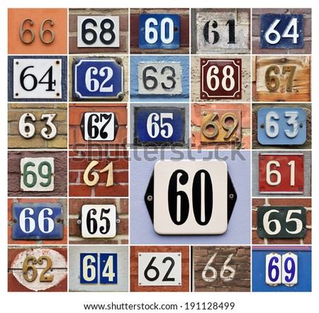 Collage of House numbers 60s
