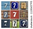 Collage of House Numbers Seven - stock photo