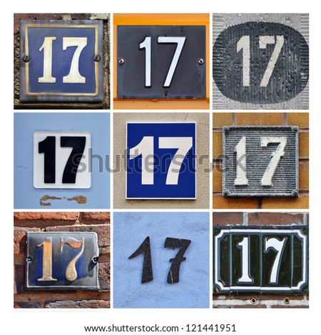 Collage of House Numbers Seventeen - stock photo
