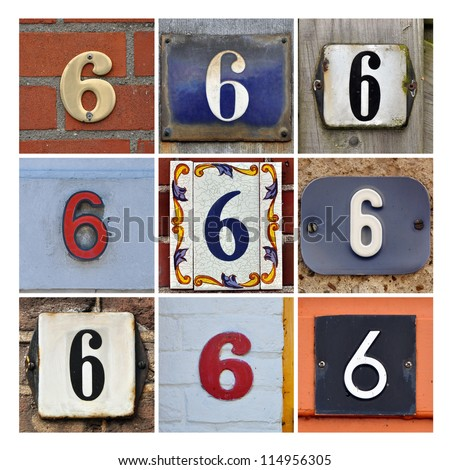Collage of House Numbers Six - stock photo