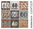 Collage of House Numbers Sixty - stock photo