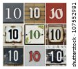 Collage of House Numbers Ten - stock photo