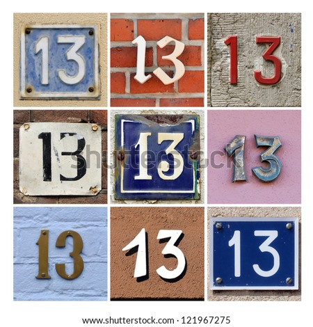 Collage of House Numbers Thirteen - stock photo