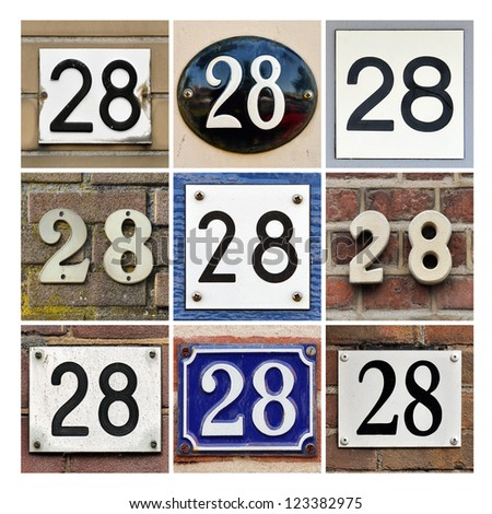 Collage of House Numbers Twenty-eight - stock photo