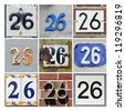 Collage of House Numbers Twenty-six - stock photo
