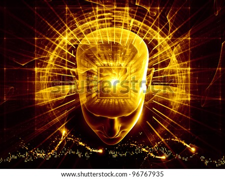 Collage of human head, numbers and various abstract elements on the subject of artificial intelligence, modern science, computer technology and human and artificial mind - stock photo