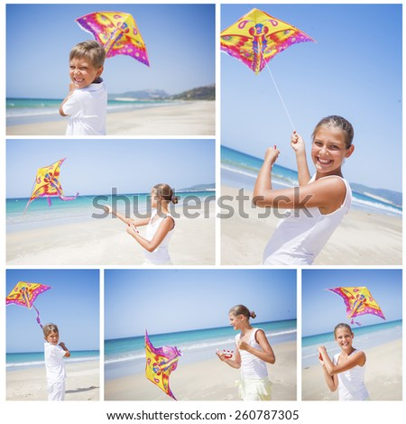 Collage of images beach cute girl kite flying outdoor coast ocean - stock photo