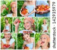 Collage of images beautiful little smiling girl eating cherries and strawberries in garden - stock photo
