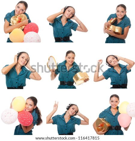 collage of images birthday party. beautiful girl with balloons, gift box. - stock photo