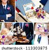 Collage of images, decorations on the marine wedding. Bride and groom with colorful ship, wedding bouquet with beautiful colors, dark blue suit of groom, sea shells at the wedding in the summer. - stock photo