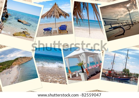 Collage of images from holidays to Thassos - stock photo