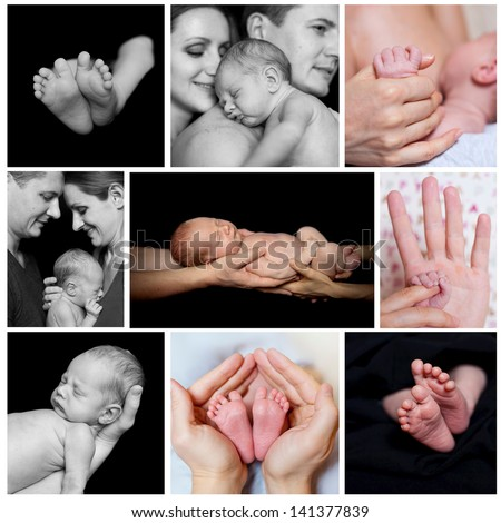 Collage of images newborn baby in a parent hands. Black-and-white photo - stock photo