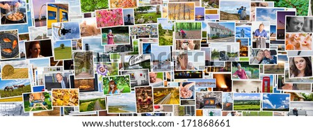 Collage of images of a persons life in an exact social media banner size - stock photo