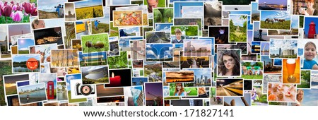 Collage of images of a persons life in 3x1 ratio - stock photo