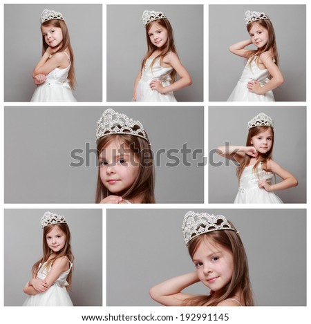 Collage of images of beautiful girl is putting on a diamond diadem on Beauty and Fashion/ Set of young princess smiling and posing for the camera - stock photo