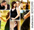 Collage of images of 8 months pregnant brunette woman with her husband outdoors on a sunny day. - stock photo