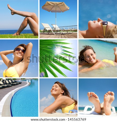Collage of images on a summer holiday - stock photo