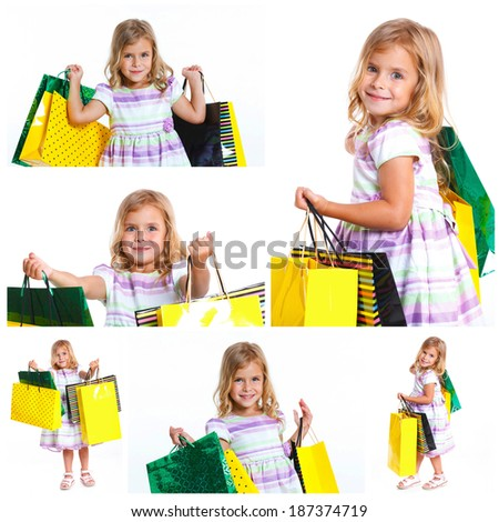 Collage of images shopping little girl happy smiling holding shopping bags isolated on white background. - stock photo