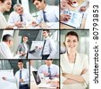 Collage of images with business people at work - stock photo