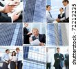 Collage of images with businesspeople in different situations - stock photo