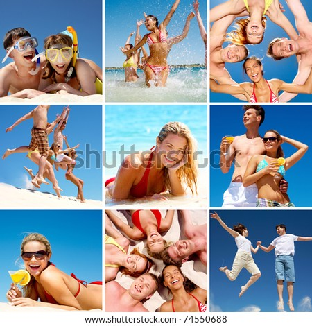 Collage of images with happy friends on beach - stock photo