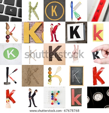 Collage of images with letter K - stock photo