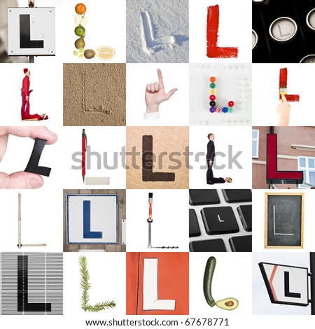 Collage of images with letter L - stock photo