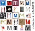 Collage of images with letter M - stock photo