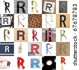 Collage of images with letter R - stock photo