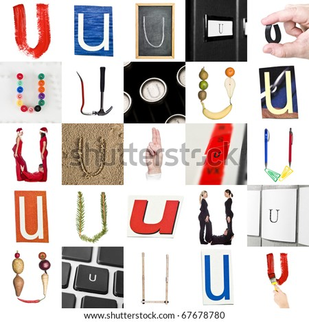 Collage of images with letter U - stock photo