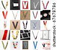 Collage of images with letter V - stock photo