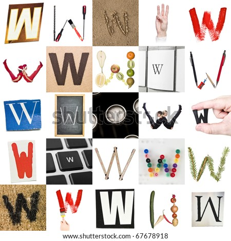 Collage of images with letter W - stock photo