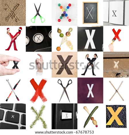 Collage of images with letter X - stock photo