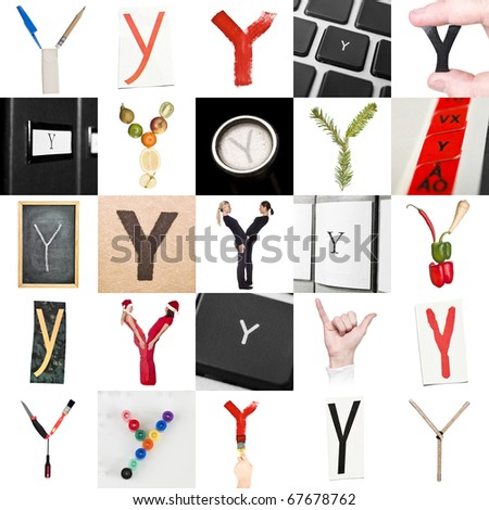 Collage of images with letter Y - stock photo