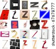 Collage of images with letter Z - stock photo
