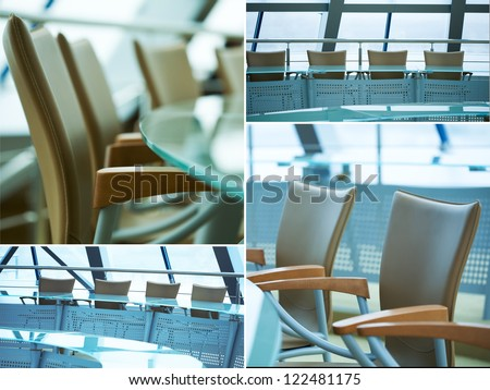 Collage of images with modern boardroom meeting - stock photo